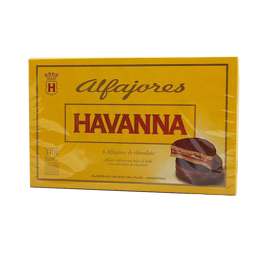 6 Alfajores Chocolat Havanna, biscuit traditionnel argentin