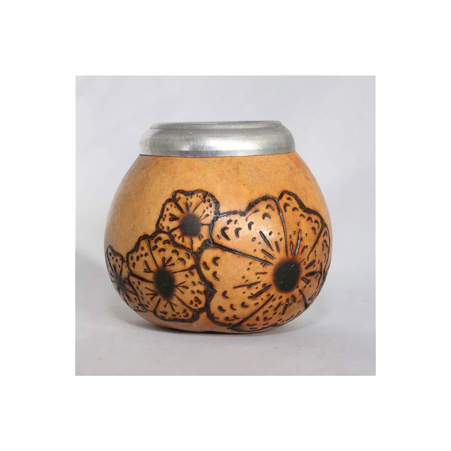 Calebasse avec bord métal décor fleuri