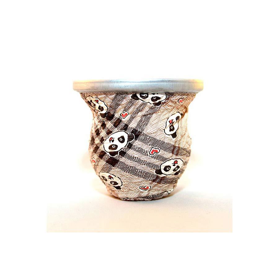 Calebasse céramique décors cuir varié