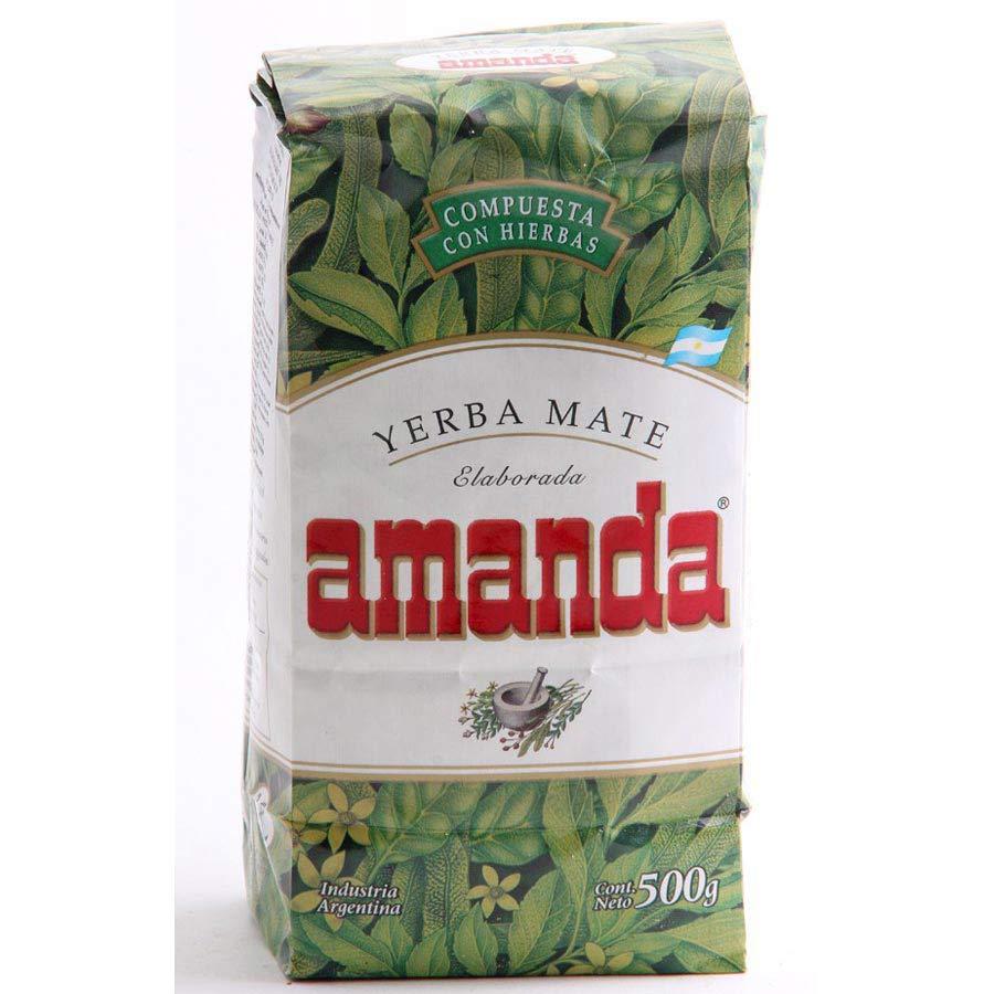 Yerba MatéAmanda compuestaaromatisé avec des herbes digestives en paquet de 500g.
